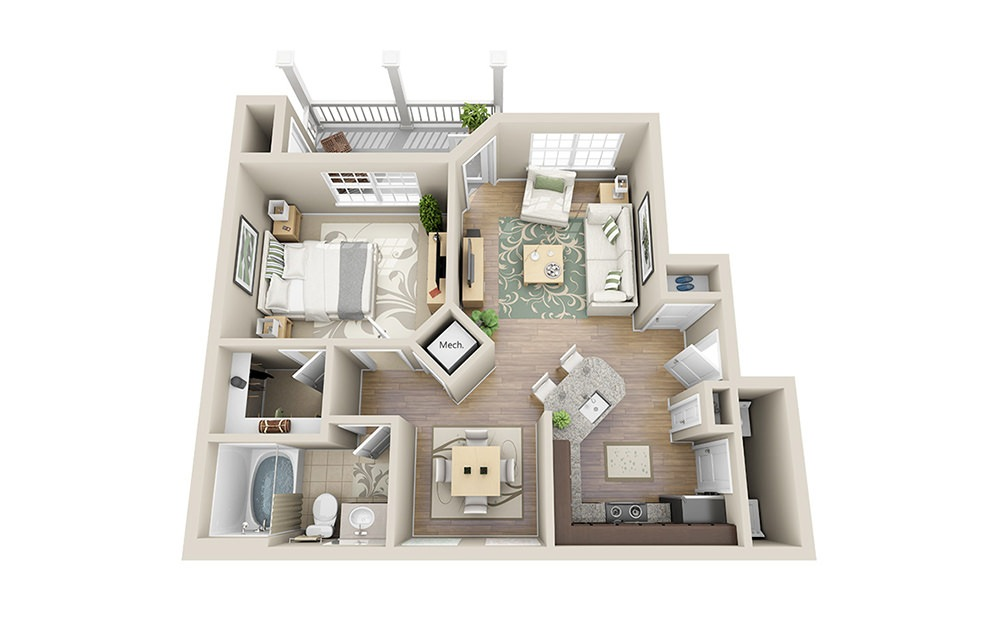 Rutledge A1 - 1 bedroom floorplan layout with 1 bath and 704 square feet.