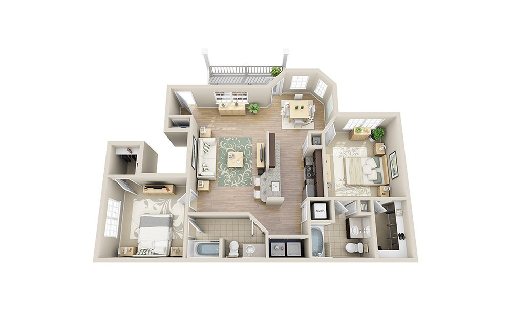Chalmers  B4.1 - 2 bedroom floorplan layout with 2 baths and 1133 square feet.