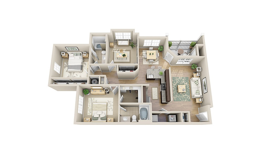 Seabrook C1 - 3 bedroom floorplan layout with 2 baths and 1323 square feet.
